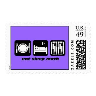 eat sleep math postage stamps
