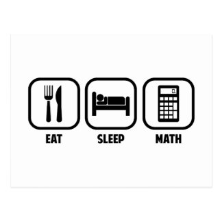 EAT, SLEEP, MATH POSTCARD