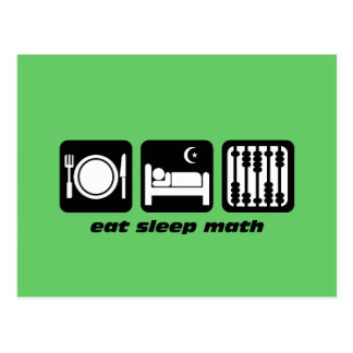 eat sleep math postcard