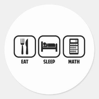 EAT, SLEEP, MATH CLASSIC ROUND STICKER