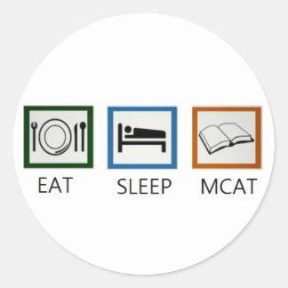 EAT SLEEP MCAT CLASSIC ROUND STICKER