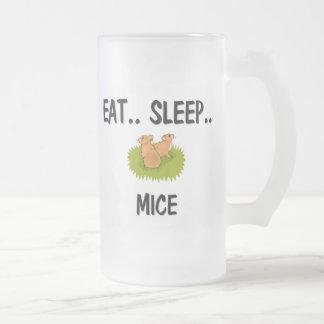 Eat Sleep MICE 16 Oz Frosted Glass Beer Mug