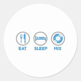 Eat, Sleep, Mix Again - DJ Disc Jockey Music Deck Classic Round Sticker