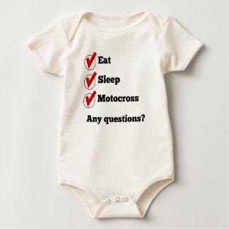 Eat Sleep Motocross Checklist Baby Bodysuits