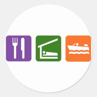 Eat Sleep Motor Boating Classic Round Sticker
