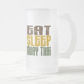 Eat Sleep Muay Thai 1 Frosted Glass Beer Mug