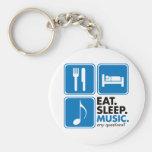 Eat Sleep Music - Blue Keychain