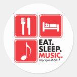 Eat Sleep Music - Red Round Sticker