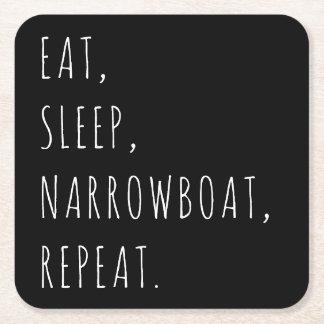 """Eat, Sleep, Narrowboat, Repeat."" Coasters"