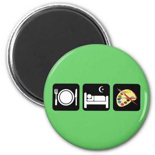Eat sleep paint 2 inch round magnet