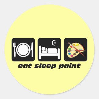 Eat sleep paint classic round sticker