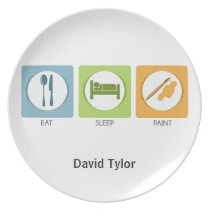 Eat Sleep Paint Melamine Plate