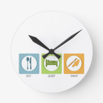 Eat Sleep Paint Round Clock