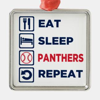 eat,sleep,panthers,repeat metal ornament