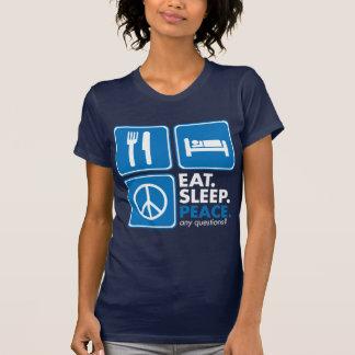 Eat Sleep Peace - Blue and White T-shirts