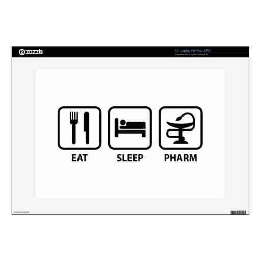 "Eat Sleep Pharm 15"" Laptop Decal"
