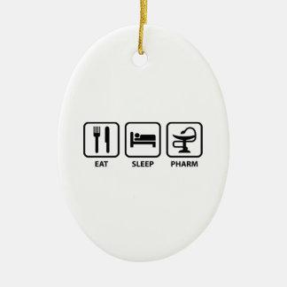 Eat Sleep Pharm Double-Sided Oval Ceramic Christmas Ornament