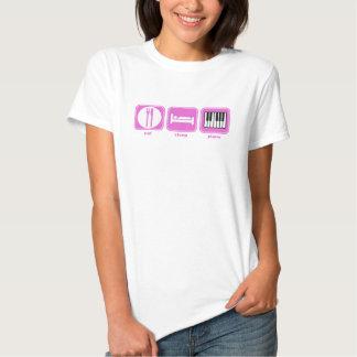 eat sleep piano pink tee shirt