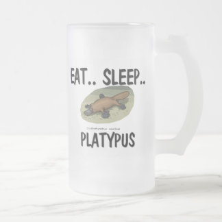 Eat Sleep PLATYPUS Frosted Glass Beer Mug