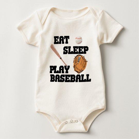 Eat, Sleep, Play Baseball Baby Bodysuit
