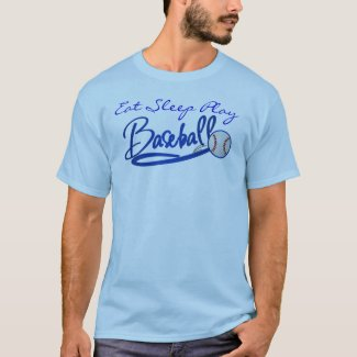 Eat Sleep Play Baseball-blue T-Shirt