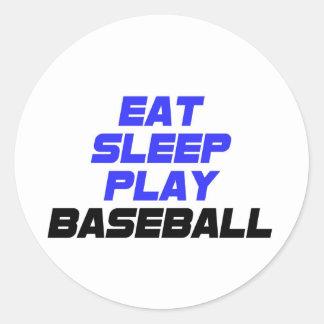 Eat, Sleep, Play, Baseball Classic Round Sticker