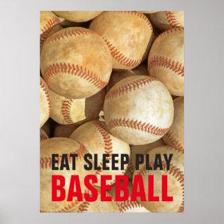 Eat Sleep Play Baseball Inspirational Poster