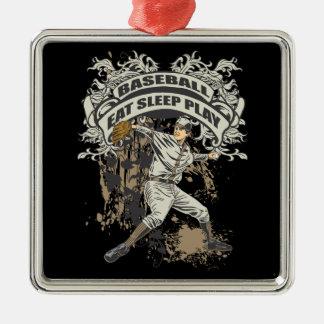 Eat, Sleep, Play Baseball Metal Ornament