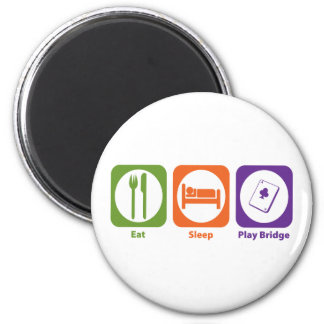 Eat Sleep Play Bridge 2 Inch Round Magnet