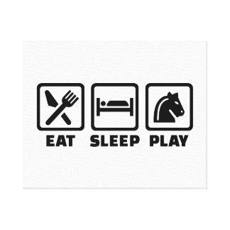Eat sleep play chess gallery wrap canvas