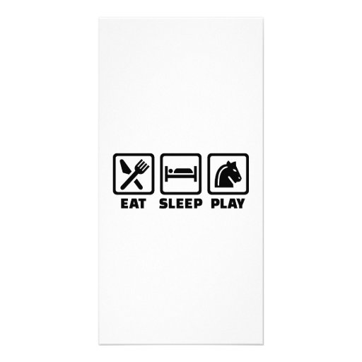 Eat sleep play chess personalized photo card