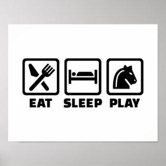 Eat sleep play chess poster