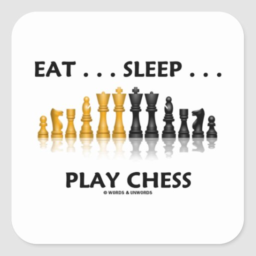 Eat ... Sleep ... Play Chess Reflective Chess Set Square Stickers