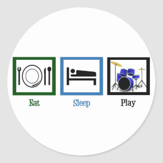 Eat Sleep Play Drums Classic Round Sticker