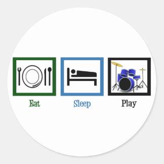 Eat Sleep Play Drums Classic Round Sticker