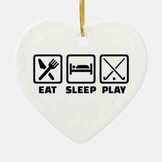 Eat sleep play field hockey ceramic ornament