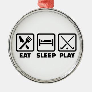 Eat sleep play field hockey metal ornament