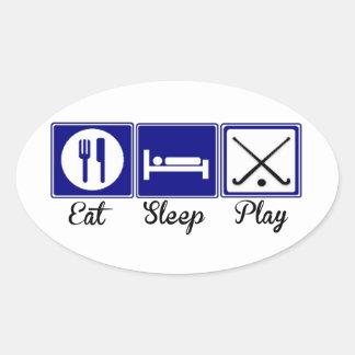 Eat, Sleep, Play - Field Hockey Oval Sticker