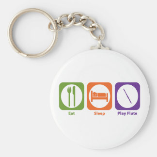 Eat Sleep Play Flute Basic Round Button Keychain