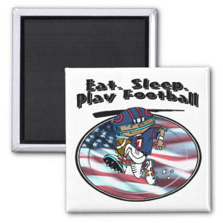 Eat Sleep Play Football 2 Inch Square Magnet