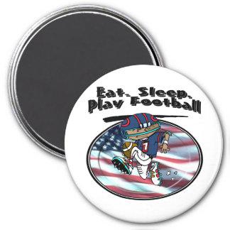 Eat Sleep Play Football 3 Inch Round Magnet