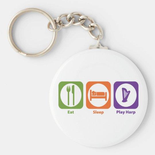 Eat Sleep Play Harp Keychain