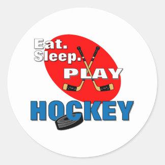 Eat Sleep Play Hockey Classic Round Sticker