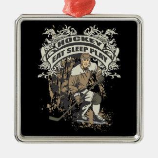 Eat, Sleep, Play Hockey Metal Ornament