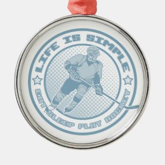 Eat, Sleep, Play Hockey Xmas Ornament