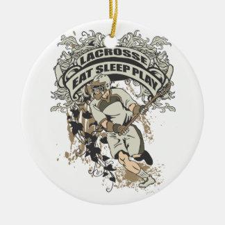 Eat, Sleep, Play Lacrosse Ceramic Ornament