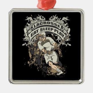 Eat, Sleep, Play Lacrosse Metal Ornament