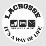 Eat Sleep Play Lacrosse Round Stickers