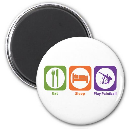 Eat Sleep Play Paintball 2 Inch Round Magnet