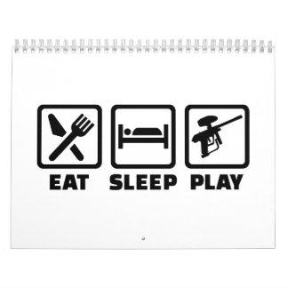 Eat Sleep Play Paintball Calendario De Pared